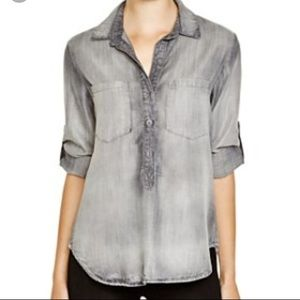 Bella Dahl Grey Pullover Button Down Tencel Shirt